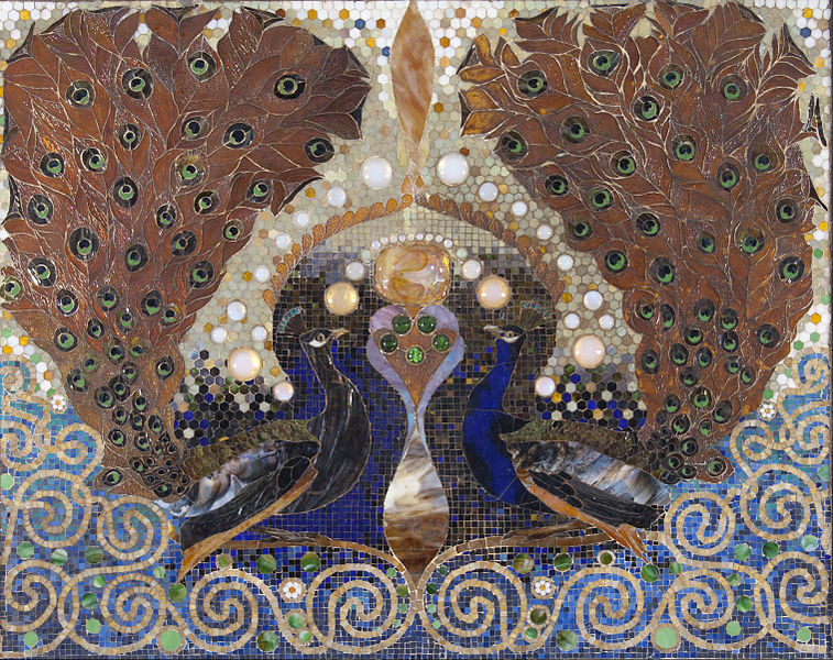 File:Louis Comfort Tiffany - Peacock Mosaic from entrance hall of the Henry O. Havemeyer house, New York - Google Art Project.jpg