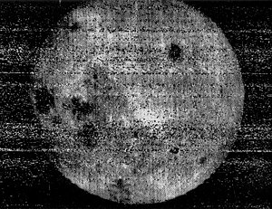 Far side of the Moon - The first image returned by Luna 3 showed the far side of the Moon