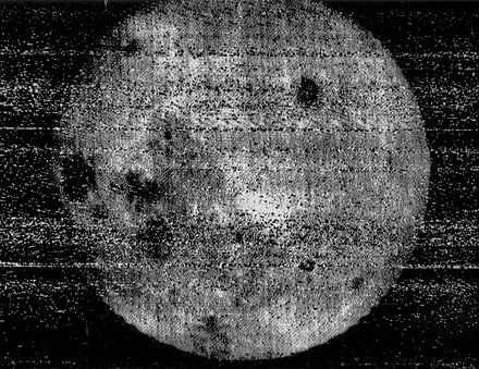The October 7, 1959, image by Luna 3 which revealed, for the first time, the far side of the Moon Luna 3 moon.jpg