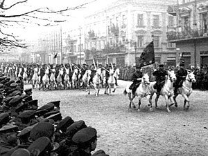 Soviet Union in World War II - Soviet cavalry on parade in Lviv (then Lwów), after the city's surrender during the 1939 Soviet invasion of Poland