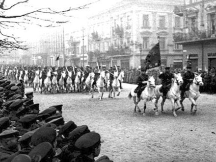 Soviet cavalry on parade in Lviv (then Lwow), after the city's surrender during the 1939 Soviet invasion of Poland Lviv 1939 Sov Cavalry.jpg