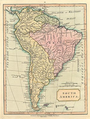 """Aurora Islands - 1808 map of South America showing """"Isles of Aurora"""""""