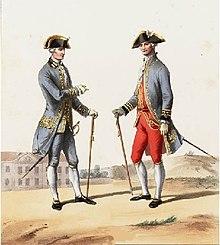 Tableau représentant un médecin et un chirurgien militaire, en grande tenue avec manteau bleu à parements dorés et bicorne noir à bordure dorée.