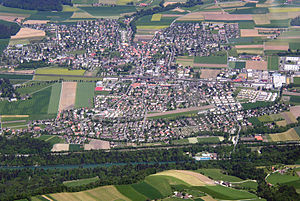 Münsingen - Aerial view of Münsingen town