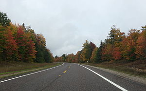 M-77 (Michigan highway) - Heading north on M-77 midway between Seney and Grand Marais in autumn