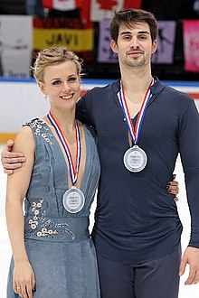 Madison Hubbell and Zachary Donohue at the 2016 Trophée de France - Awarding ceremony.jpg