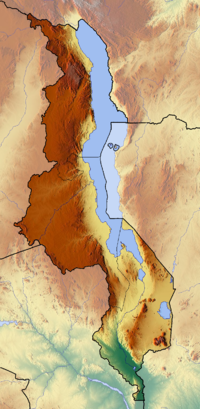 Map showing the location of Lake Malawi National Park