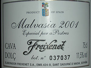 Bottle of the Spanish sparkling wine Cava made...