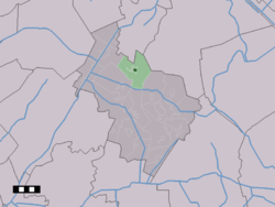 The town centre (dark green) and the statistical district (light green) of Hooghalen in the municipality of Midden-Drenthe.
