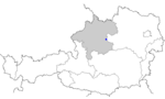 Map of Austria, position of Steyr highlighted