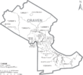 Map of Craven County North Carolina With Municipal and Township Labels.PNG
