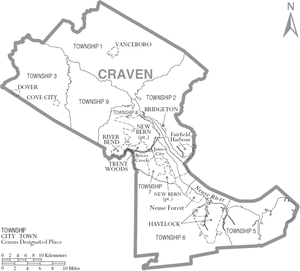 Craven county north carolina wikipedia map of craven county north carolina with municipal and township labels sciox Image collections