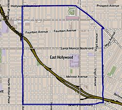 Boundaries of East Hollywood as drawn by the Los Angeles Times