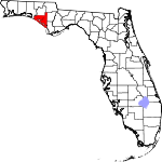 A state map highlighting Bay County in the panhandle part of the state. It is medium in size.