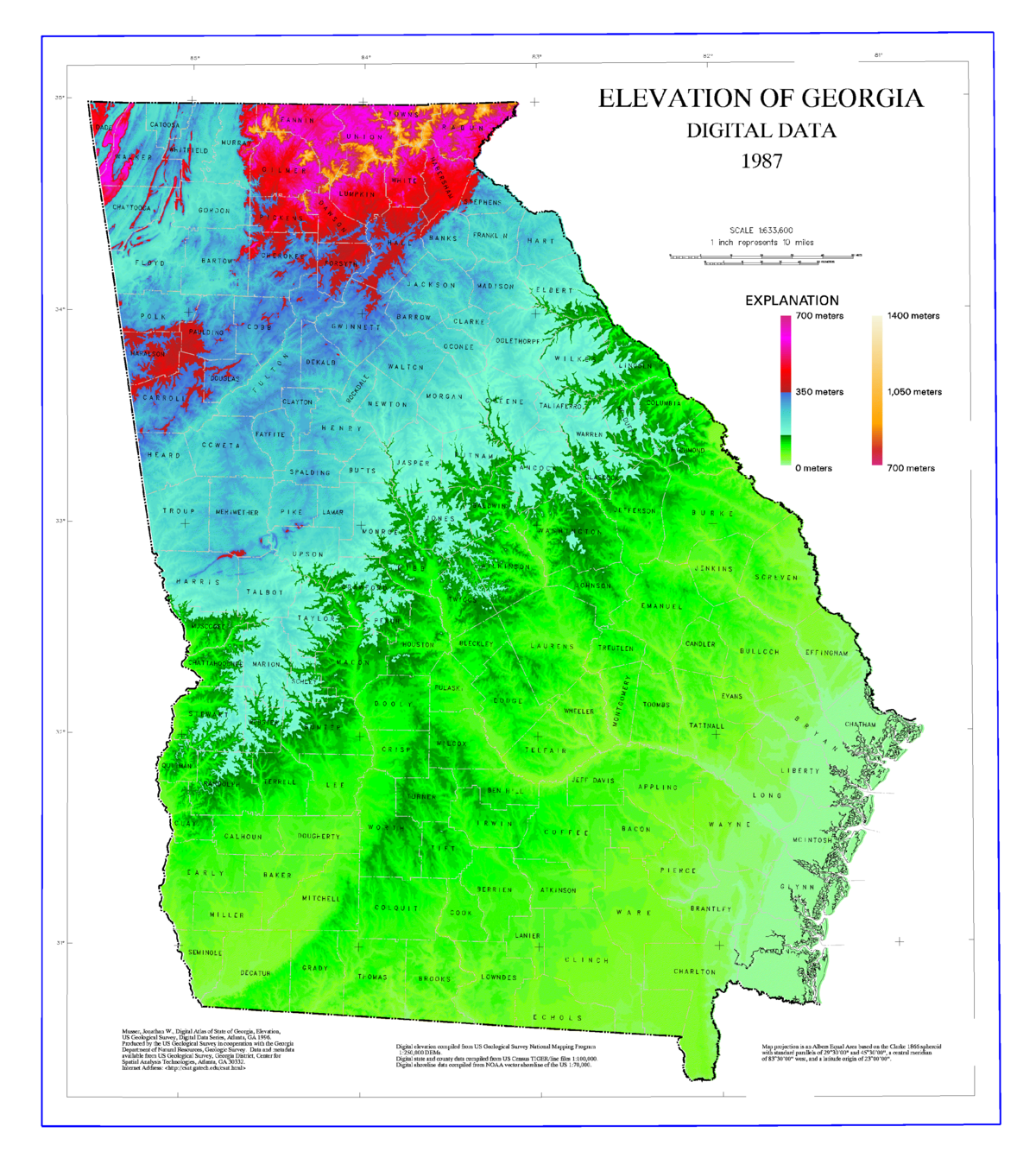Geography Of Georgia US State Wikipedia - Altitude above sea level map