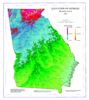 Geography of Georgia (U.S. state) - Map of Georgia elevations