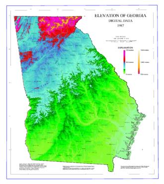 Geography of Georgia (U.S. state) - Map of Georgia elevations