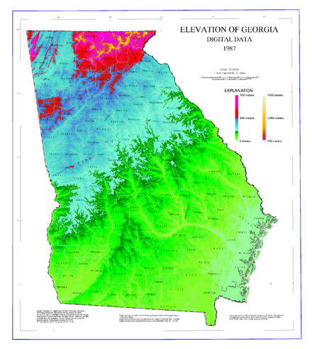 Map of elevations in Georgia Map of Georgia elevations.png
