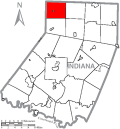 Map of Indiana County, Pennsylvania Highlighting West Mahoning Township.PNG