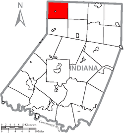 Map of Indiana County, Pennsylvania Highlighting West Mahoning Township