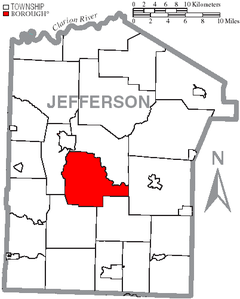 Map of Jefferson County, Pennsylvania Highlighting Knox Township.PNG