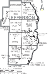 Jefferson County Ohio Township Map File:Map of Jefferson County Ohio With Municipal and Township