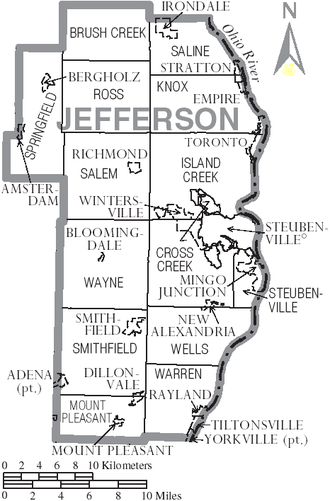 Jefferson County, Ohio - Map of Jefferson County, Ohio with Municipal and Township Labels
