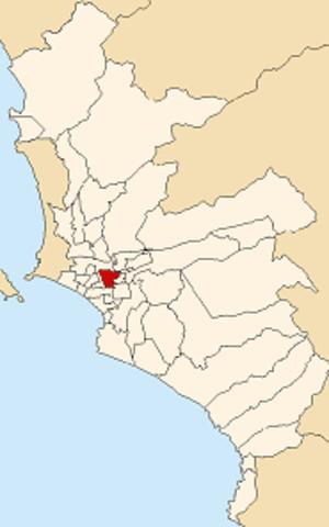 La Victoria District, Lima - Image: Map of Lima highlighting La Victoria