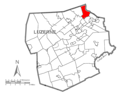 Map of Luzerne County highlighting Exeter Township