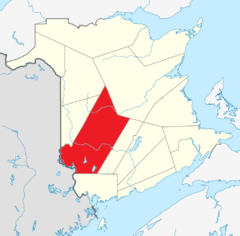 Map of New Brunswick highlighting York County2.png