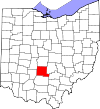 State map highlighting Pickaway County