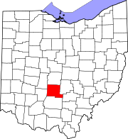 Map of Ohio highlighting Pickaway County