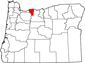 Map of Oregon highlighting Hood River County
