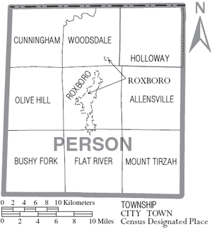 Map of Person County, North Carolina With Municipal and Township Labels