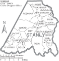 Map of Stanly County North Carolina With Municipal and Township Labels.PNG