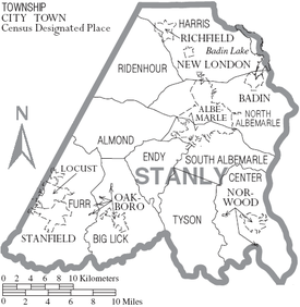 Stanly County North Carolina Wikipedia - County maps of nc