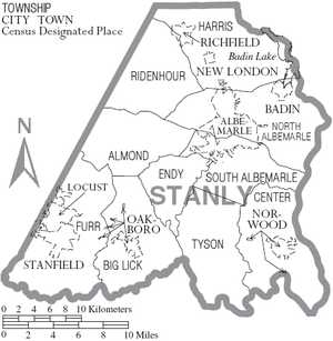 Map of Stanly County, North Carolina With Municipal and Township Labels