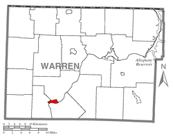 Location of Tidioute in Warren County