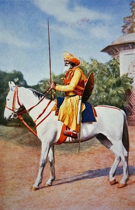 Maratha Horse Warrior of India (colour litho)