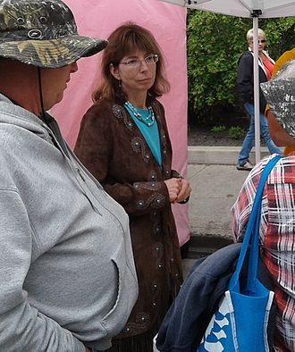 Margaret Stock - Stock campaigning for U.S. Senate in downtown Fairbanks in July 2016