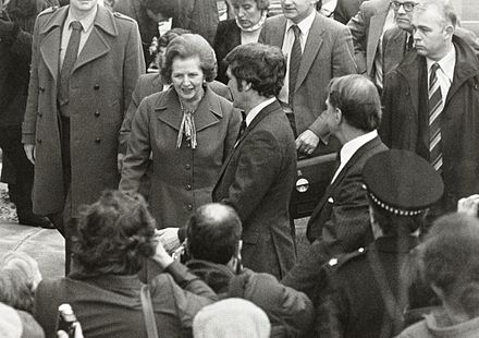 Thatcher during a visit to Salford University in 1982 Margaret Thatcher visiting Salford.jpg