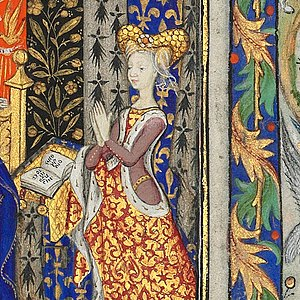 Margaret, Countess of Vertus - Detail of a folio from the Book of Hours of Marguerite, c. 1430