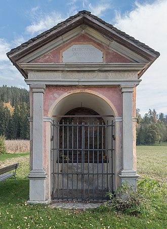 Virunum - Prunnerkreuz sanctuary of 1692 incorporating Roman and Celtic slabs