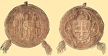 Two sides of a seal: a crowned woman sitting on a throne and a coat-of-arms depicting a double cross