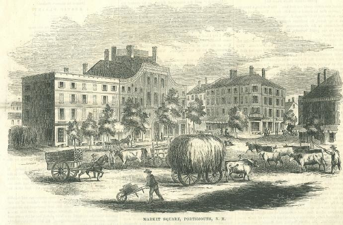 Market Square in 1853, Portsmouth, NH