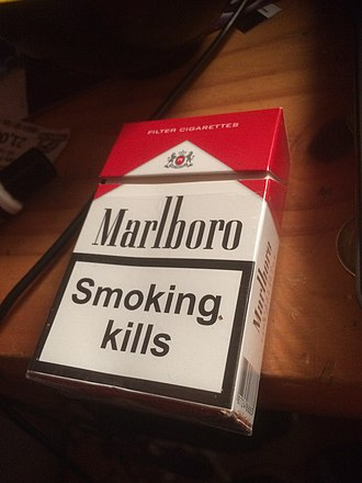 Marlboro (cigarette) - Marlboro cigarette pack with a health warning