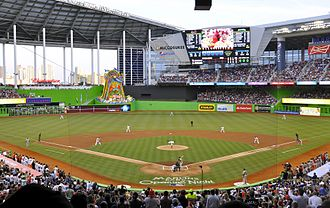 2017 World Baseball Classic - Image: Marlins First Pitch at Marlins Park, April 4, 2012 (cropped)