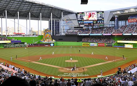 Marlins Park, home of the Miami Marlins Marlins First Pitch at Marlins Park, April 4, 2012 (cropped).jpg