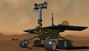 A Mars Rover robot simulated on MSRDS by SimplySim
