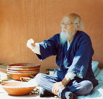 Masanobu Fukuoka - Fukuoka throwing a seedball at a 2002 workshop at Navdanya